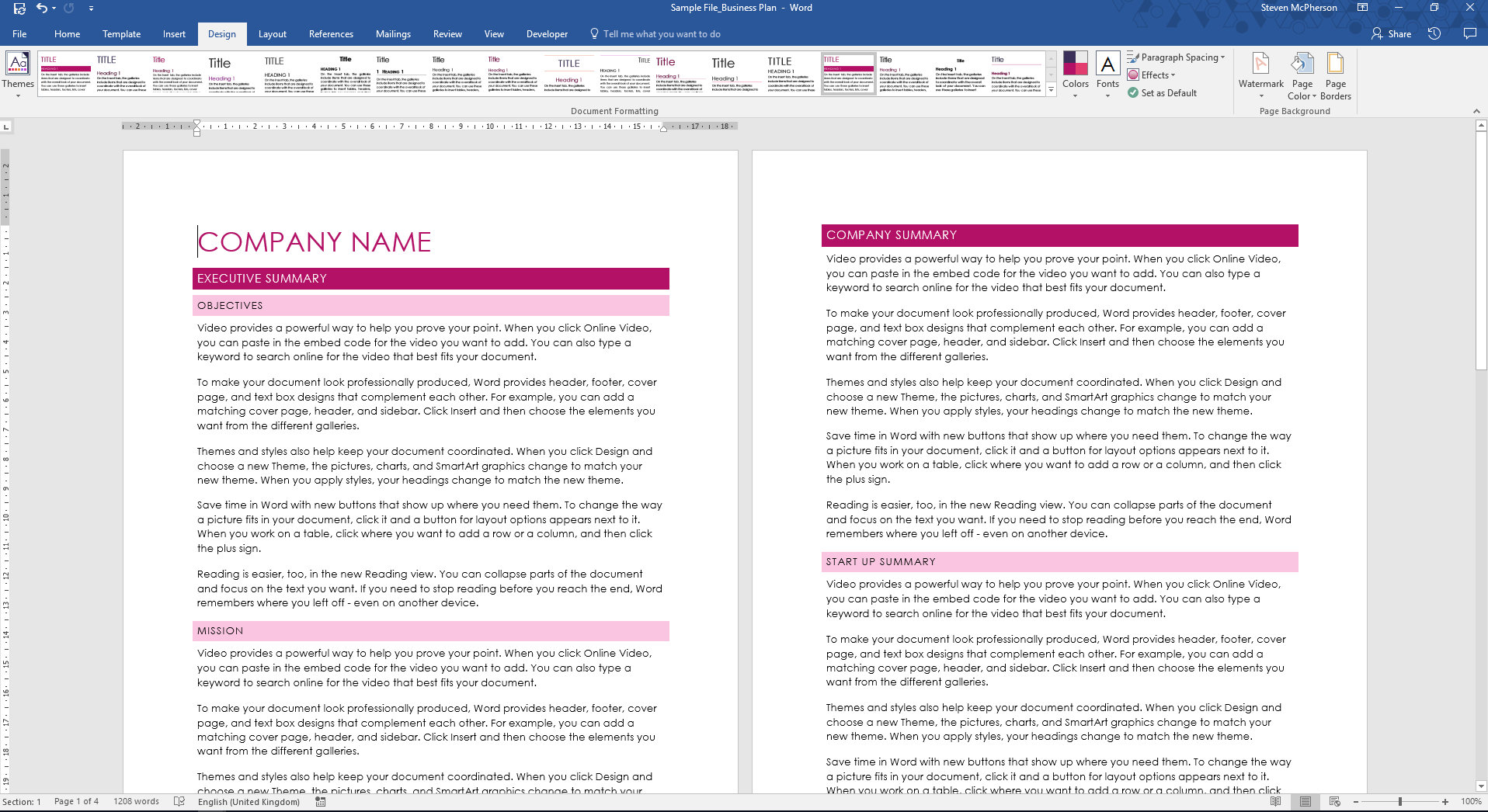 Creating a reportt in Word