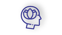 Purple icon of a face with a lotus flower instead of a brain